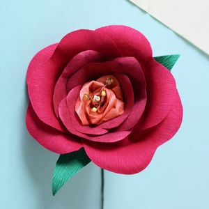 Red Paper Rose With Beaded Centre - home accessories