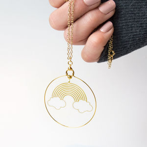 Playful Gold Rainbow Hoop Necklace