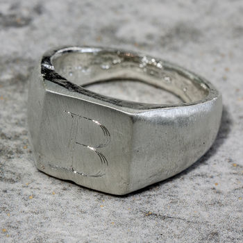 Personalised Sterling Silver Square Sand Cast Ring