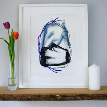 'Marina' Minimal Abstract Blue And White Art Print
