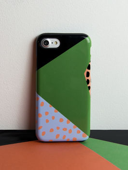 Phone Case With Memphis Triangle Print, More Colours