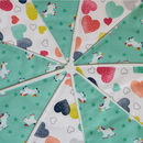 Unicorn And Heart Nine Pennant Cotton Bunting
