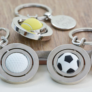 Personalised Spinning Sports Ball Keyring - keyrings