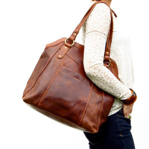 Chelsea Leather Slip Pocket Shopper Tote - womens