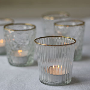 Clear Glass Tea Light Holder With Gold Rim