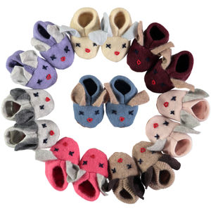 Handmade Recycled Cashmere Bunny Booties - children's slippers