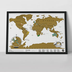 Scratch Map® Original Travel Size Poster - mixed media & collage