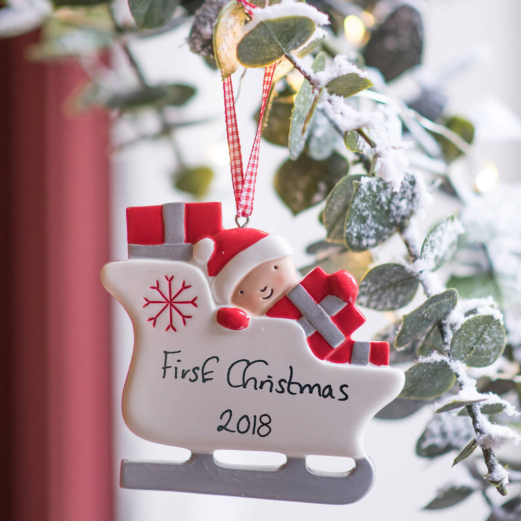 personalised babies first christmas sleigh decoration