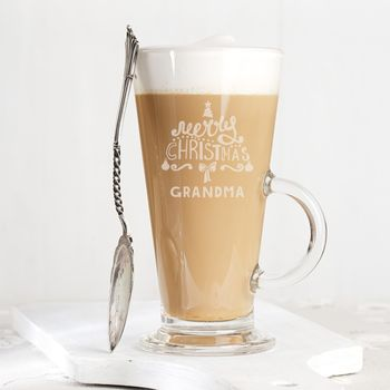 Personalised 'Merry Christmas' Latte Glass