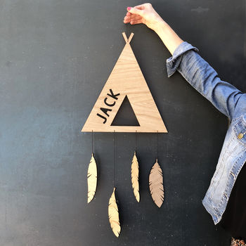 Personalised Wooden Teepee Hanging Decoration
