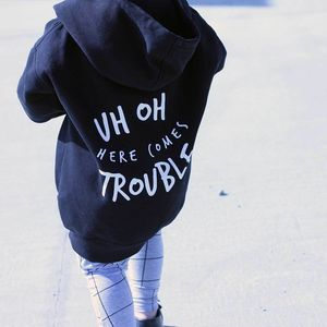 Uh Oh Here Comes Trouble Zipped Hoodie - slogan clothing