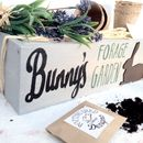 Personalised Indoor Rabbit Window Box With Grass Seeds