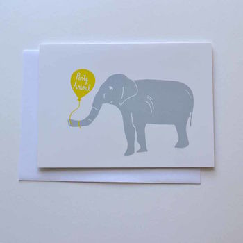 Party Elephant Happy Birthday Card