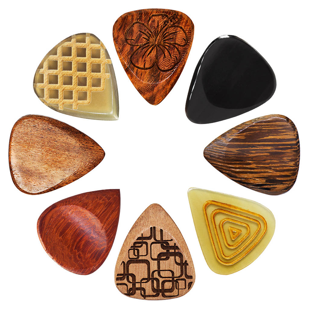 acoustic guitar tin of eight guitar picks plectrums by timber tones. Black Bedroom Furniture Sets. Home Design Ideas