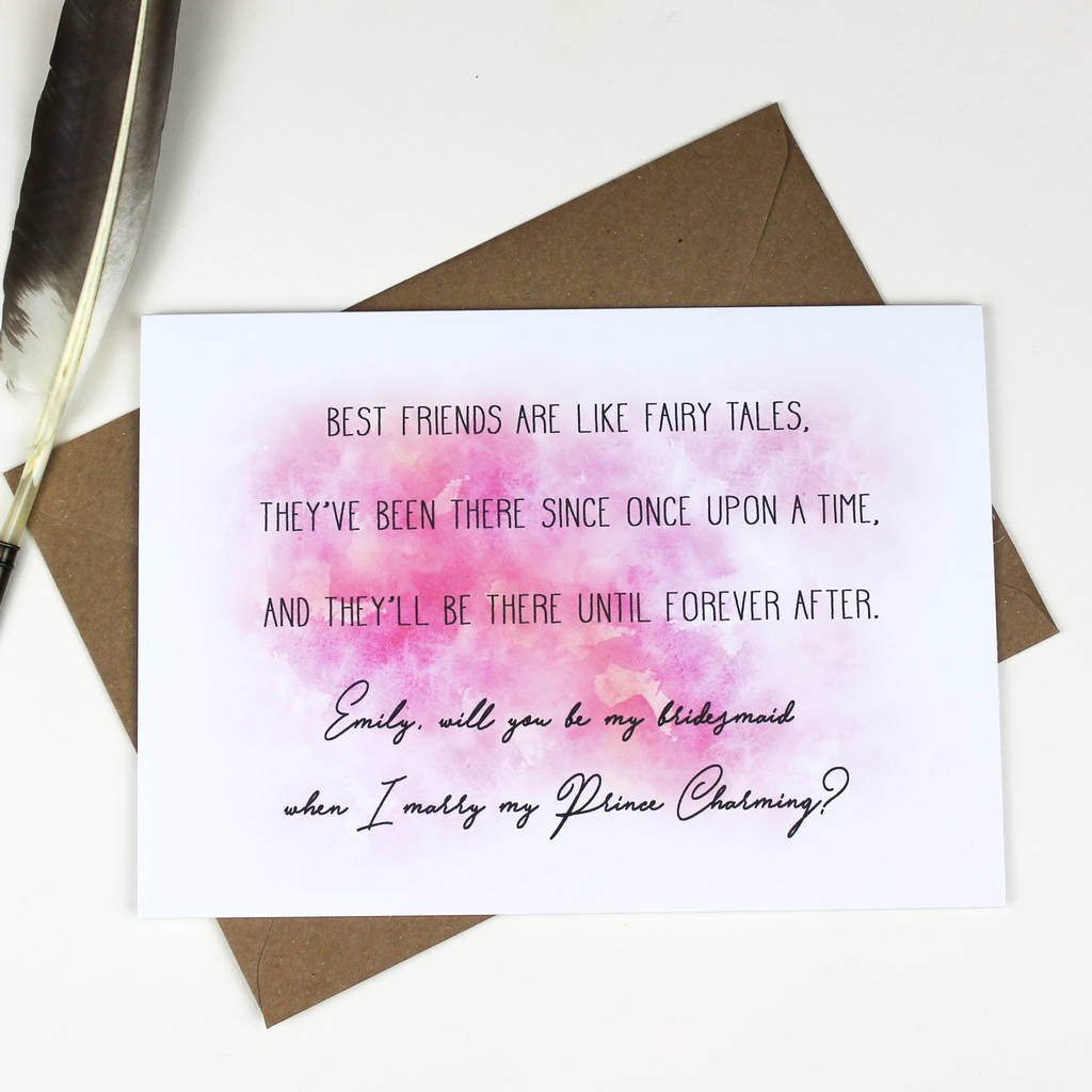 Personalised 'Will You Be My Bridesmaid' Card