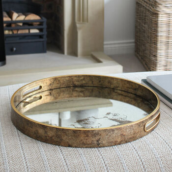 Antique Gold Round Distressed Effect Tray