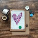 Buttons Heart On Vintage Book Paper Greeting Card