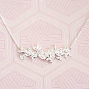 Sterling Silver Floral Rose Bar Necklace