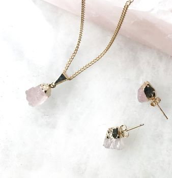 Mini Rose Quartz Raw Cut Pendant Necklace
