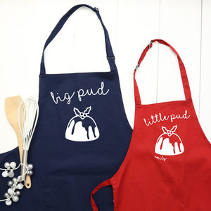 Personalised 'Big Pud' 'Little Pud' Apron