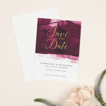 Berry And Gold 'Grace' Save The Date Cards