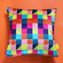 Multi Coloured Geometric Velvet Cushion