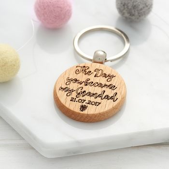 Personalised Wooden Day You Became My Grandad Keyring