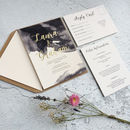Dark Watercolour Gold Foil Invitations