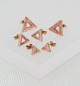 Geometric Triangle Rose Gold Studs - rose gold jewellery