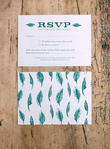 Tropical Leaf Wedding RSVP Return Cards - wedding stationery