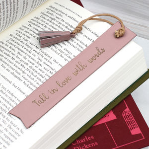 Personalised Italian Leather Bookmark - books