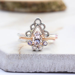 Achillies, Pallavi And Vali Rose Gold Boho Stack Rings - new season