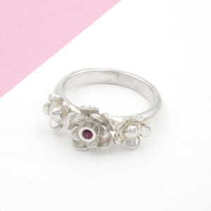 Flower Trilogy Silver Ring - rings