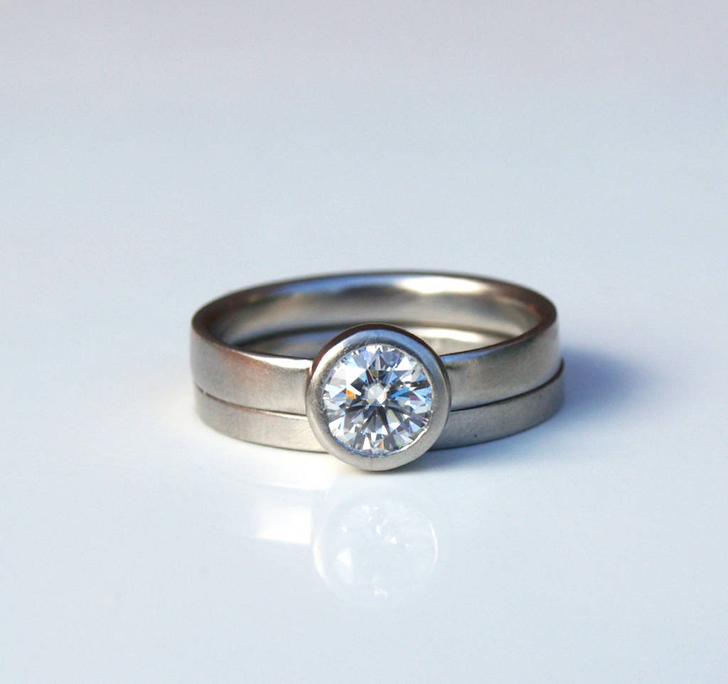 engagement oval in ring gold set with wedding white product rings band moissanite