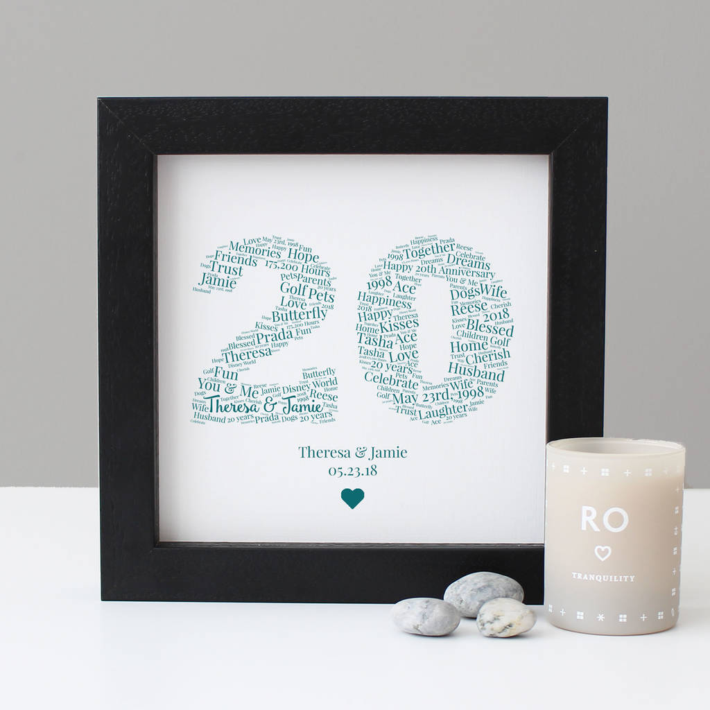 personalised 20th anniversary gift by hope and love