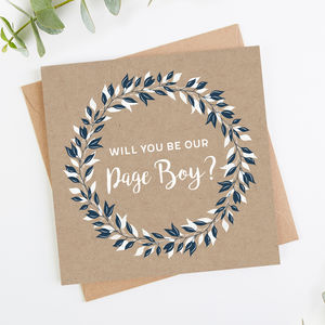 Page Boy Card Navy And White Leaf Kraft - best man & usher cards