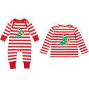 Sibling Christmas Dinosaur Top And Playsuit Set