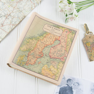 Personalised Vintage Map Photo Album - 3rd anniversary: leather