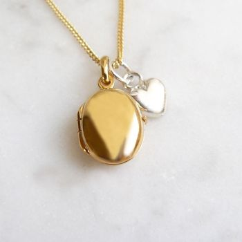 Gold Pebble Locket With Silver Heart Necklace