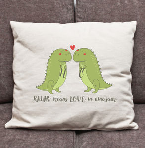 Personalised Dinosaur 'Rawr' Love Cushion - bedroom