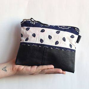 Reclaimed Leather And Patterned Bag - clutch bags