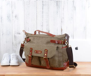 Personalised Canvas Messenger Boarding Bag - holdalls & weekend bags