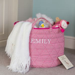 Pink Gingham Toy Storage Basket - children's room