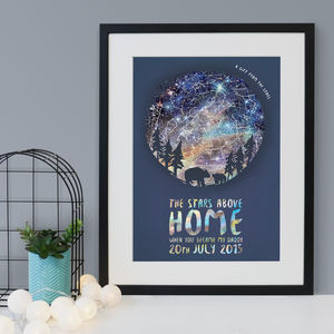 Personalised Bear And Cub Star Chart Print - nursery pictures & prints