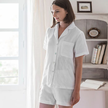 White Linen Short Pyjamas