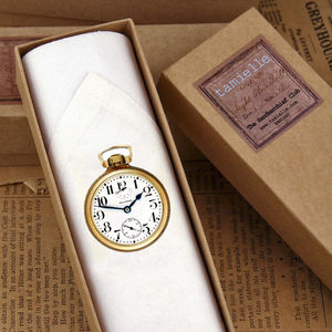 Men's Handkerchief: Gold Pocket Watch - gifts for grandparents