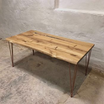 Hairpin Legs Live Edge Oak Industrial Dining Table