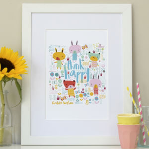 Think Happy Personalised Nursery Print