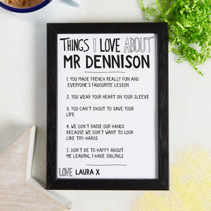 Personalised Things We Love About Our Teacher Print - posters & prints