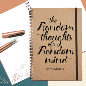 'Random Thoughts' Personalised Stationary Gift Notebook